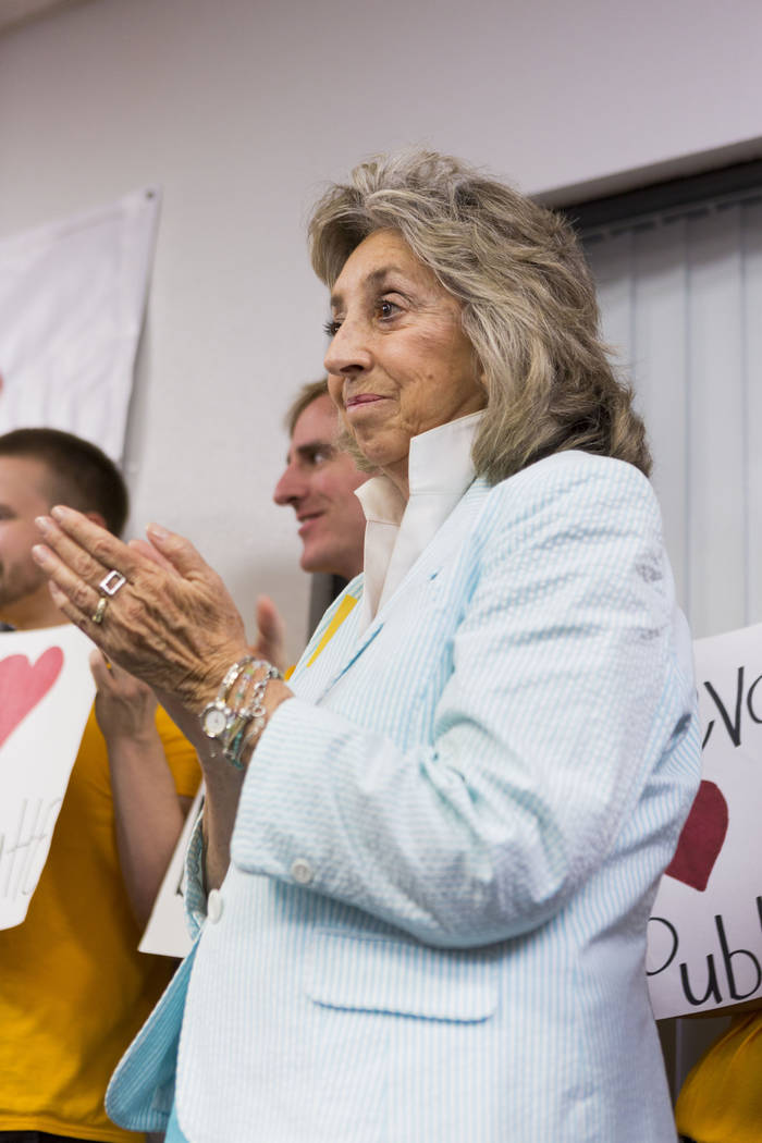 Rep. Dina Titus, D-Nev., during a news conference about Secretary Zinke's shortened visit to Nevada, at a Battle Born Progress office in Las Vegas, Monday, July 31, 2017. Elizabeth Brumley Las Veg ...