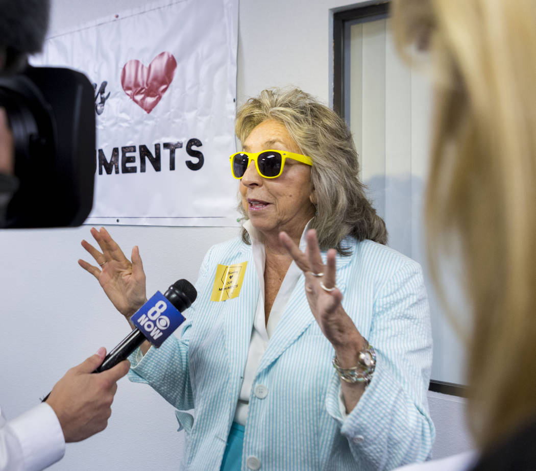 Rep. Dina Titus, D-Nev., speaks to reporters during a news conference about Secretary Zinke's shortened visit to Nevada at a Battle Born Progress office in Las Vegas, Monday, July 31, 2017. Elizab ...