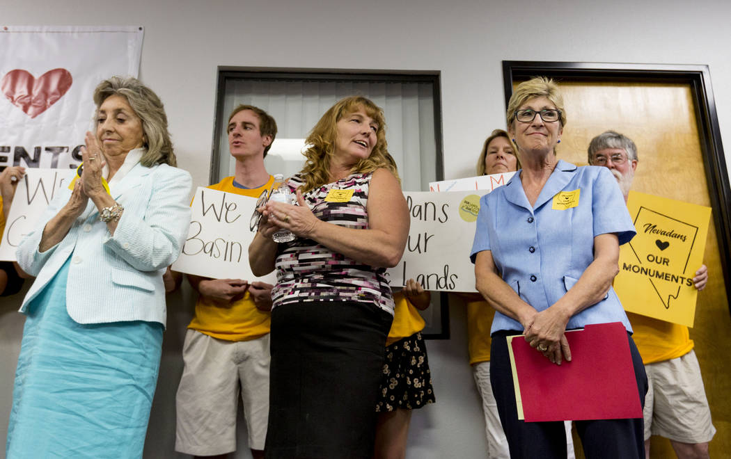 Rep. Dina Titus, D-Nev., left, Commissioner Marilyn Kirkpatrick, center, and Commissioner Chris Giunchigliani during a news conference about Secretary Zinke's shortened visit to Nevada, at a Battl ...