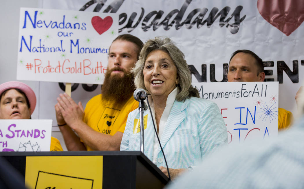 Rep. Dina Titus, D-Nev., speaks during a news conference about Secretary Zinke's shortened visit to Nevada, at a Battle Born Progress office in Las Vegas, Monday, July 31, 2017. Elizabeth Brumley  ...