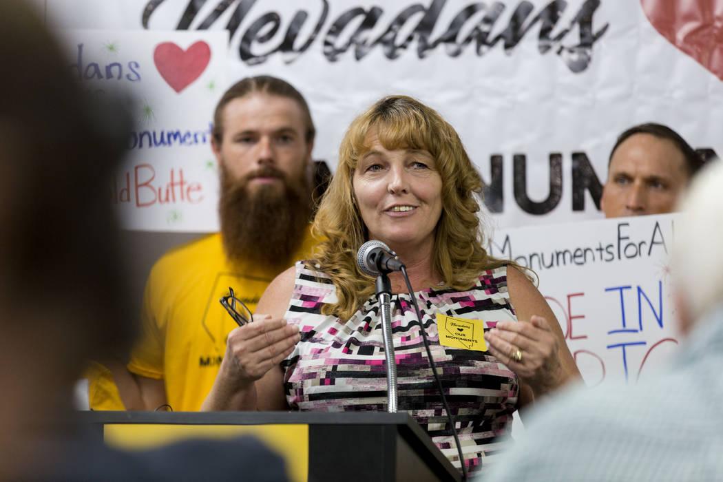 Commissioner Marilyn Kirkpatrick speaks during a press conference about Secretary Zinke's shortened visit to Nevada, at a Battle Born Progress office in Las Vegas, Monday, July 31, 2017. Elizabeth ...
