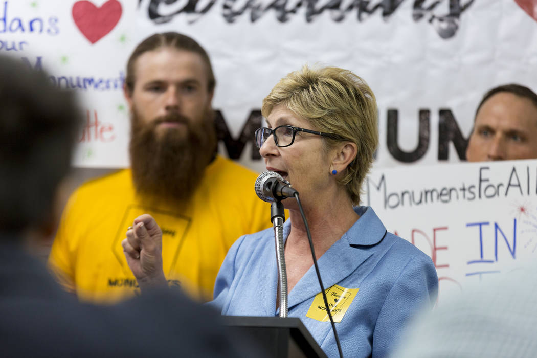 Commissioner Chris Giunchigliani speaks during a news conference about Secretary Zinke's shortened visit to Nevada, at a Battle Born Progress office in Las Vegas, Monday, July 31, 2017. Elizabeth  ...