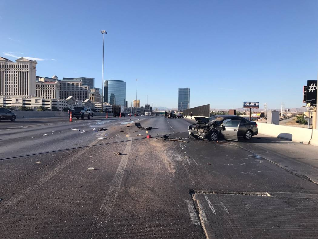 The Nevada Highway Patrol is investigating a crash that happened early Sunday morning at I-15 and Flamingo in central Las Vegas. (NHP/Twitter)