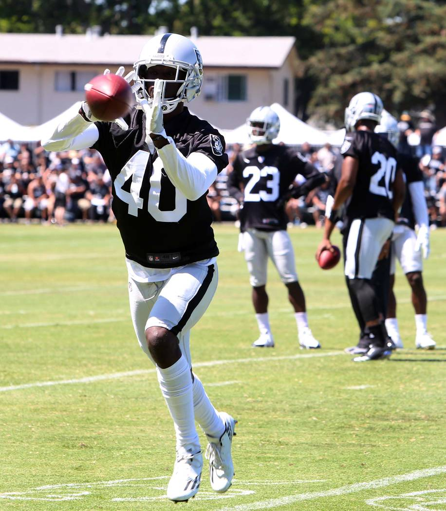 The Oakland Raiders cornerback Kenneth Durden catches a pass during the second day of teams practice at Raiders Napa Valley training complex in Napa., Calif., on Sunday, July 30, 2017. Bizuayehu T ...