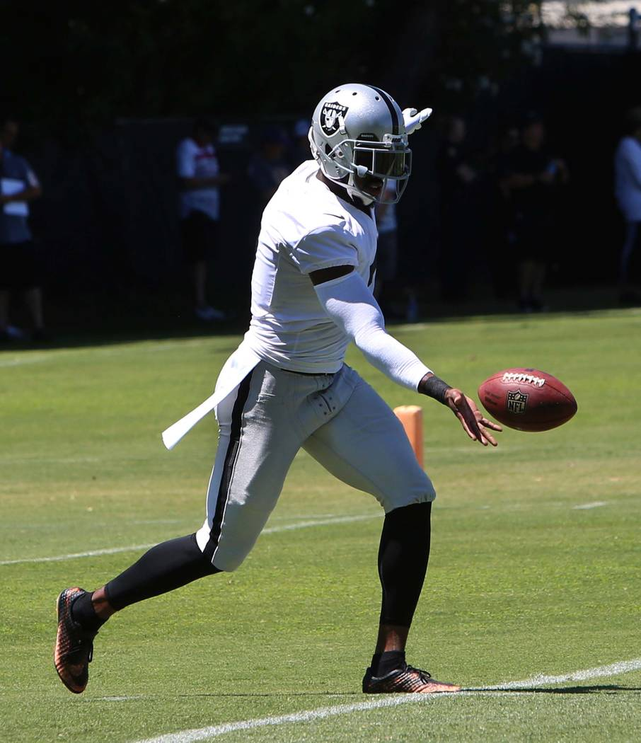 The Oakland Raiders punter Mrquette King kicks the ball during the second day of teams practice at Raiders Napa Valley training complex in Napa., Calif., on Sunday, July 30, 2017. Bizuayehu Tesfay ...