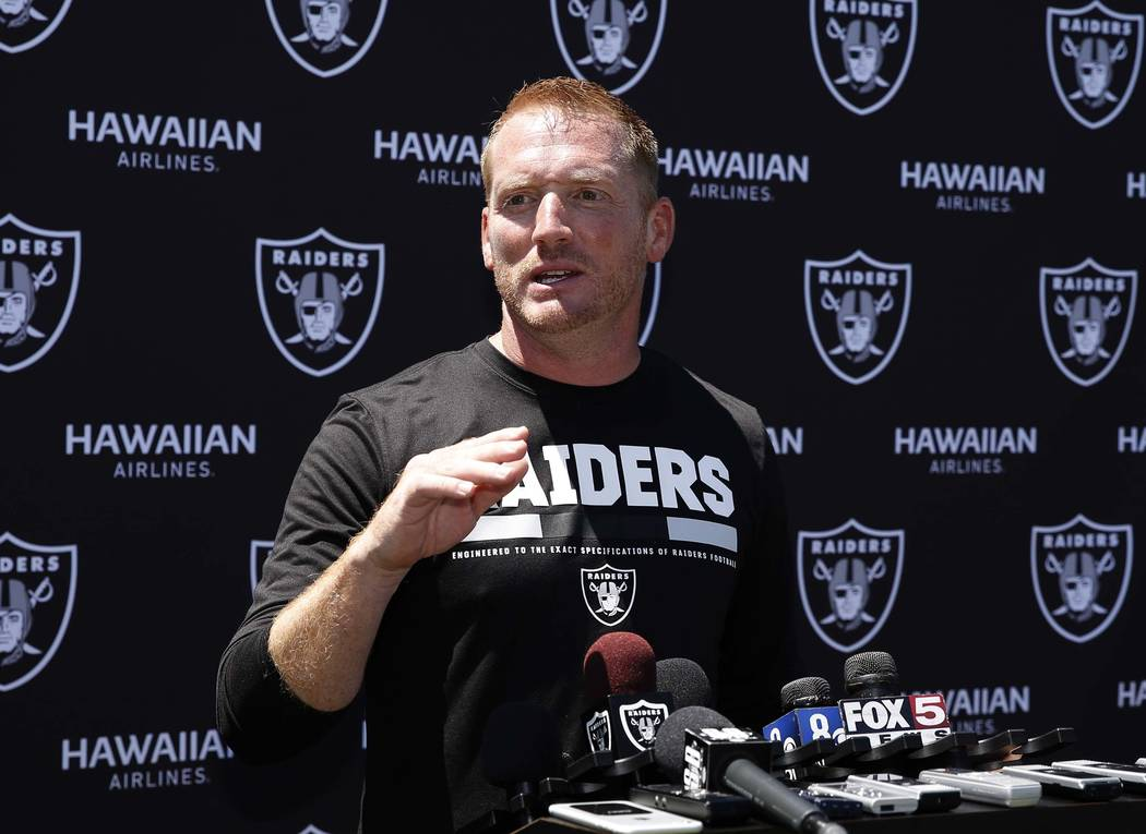 The Oakland Raiders offensive coordinator Todd Downing addresses the media after the second day of teams practice at Raiders Napa Valley training complex in Napa., Calif., on Sunday, July 30, 2017 ...