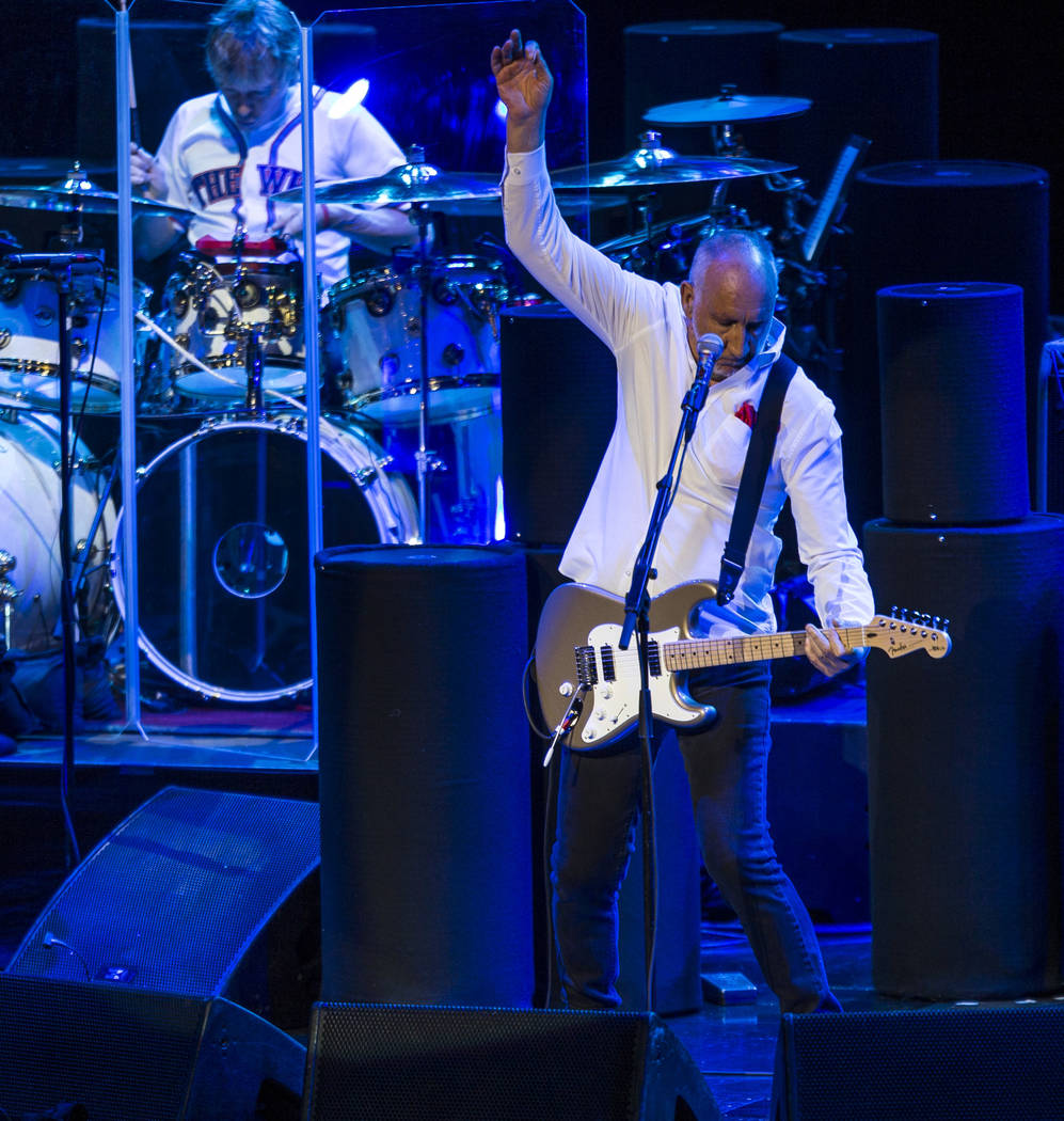Pete Townshend executes one of his famous windmill motions while performing at the Colosseum at Caesars Palace on Saturday, July 29, 2017.  Patrick Connolly Las Vegas Review-Journal @PConnPie