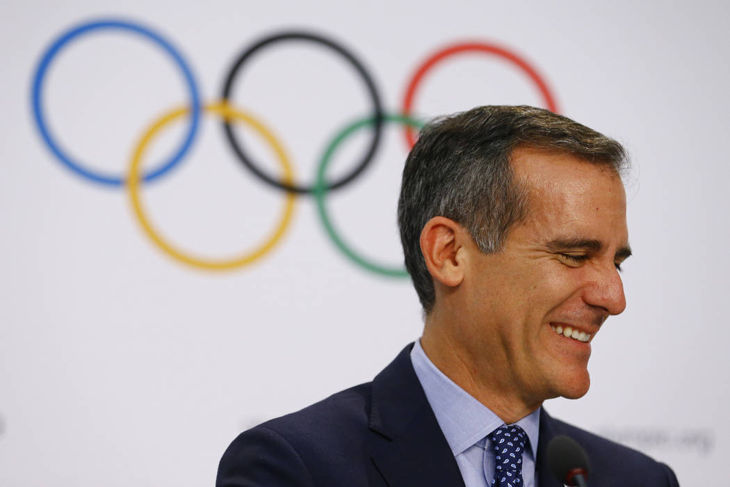Mayor of Los Angeles Eric Garcetti attends the briefing of 2024 Olympic Games candidate cities Paris and Los Angeles ahead of final election of 2024 Olympic host city, in Lausanne, Switzerland Jul ...