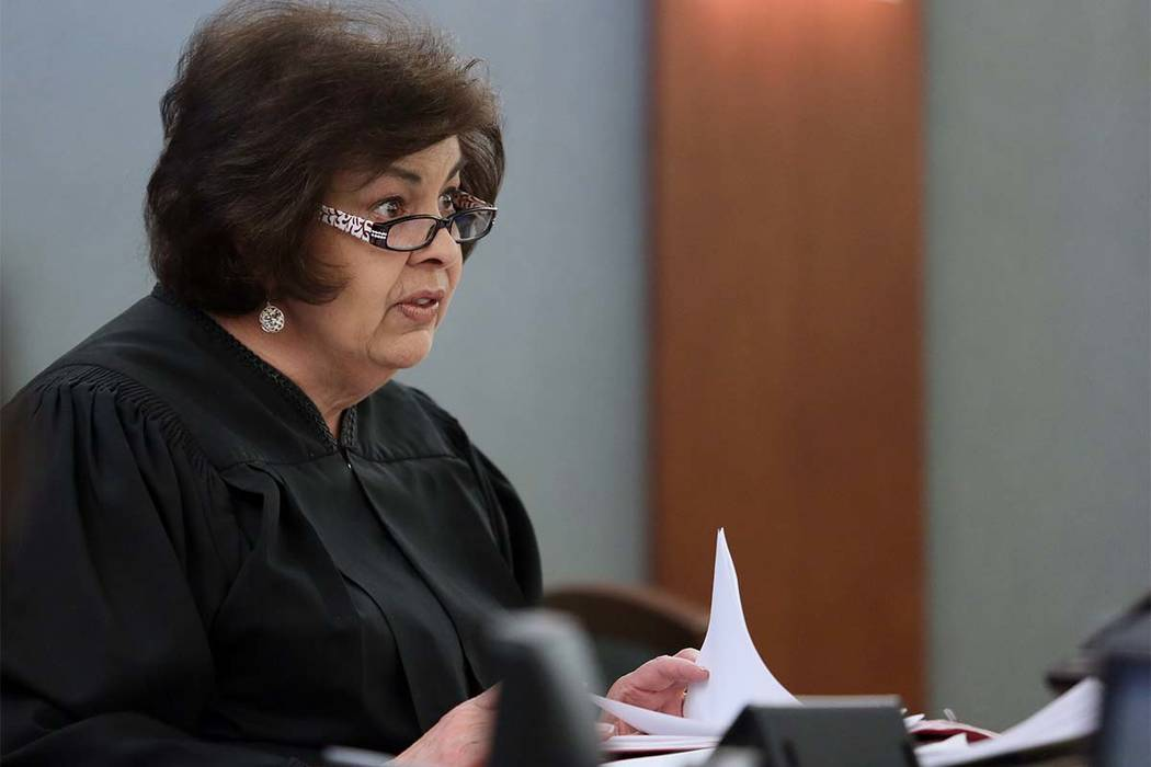 Justice of the Peace Deborah Lippis presides over the case of Henderson personal injury lawyer William Errico at Regional Justice Center Tuesday, June 3, 2014 in Las Vegas. Errico was arrested las ...