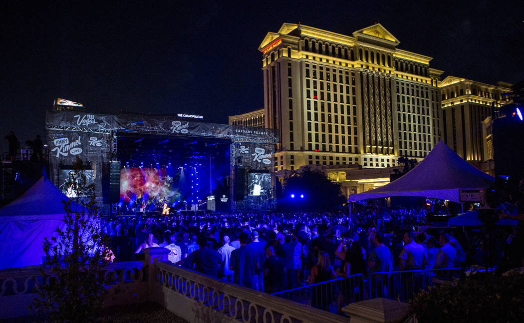 The Killers perform a pop-up concert to air on Jimmy Kimmel Live! outside of Caesars Palace on Monday, July 31, 2017.  Patrick Connolly Las Vegas Review-Journal @PConnPie