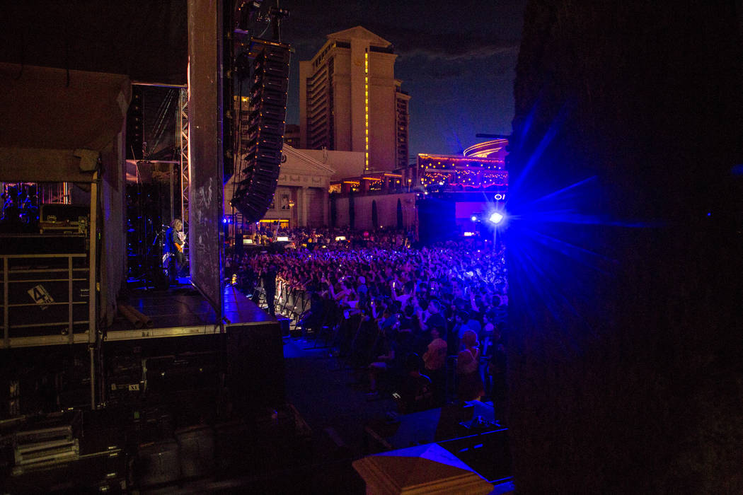 A view from Las Vegas Boulevard of The Killers performing a pop-up concert to air on Jimmy Kimmel Live! outside of Caesars Palace on Monday, July 31, 2017.  Patrick Connolly Las Vegas Review-Journ ...