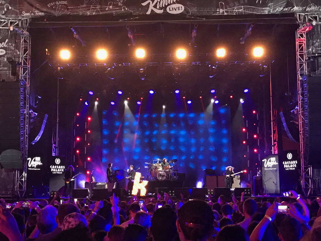 The Killers performed a pop-up concert to air on Jimmy Kimmel Live! outside of Caesars Palace on Monday, July 31, 2017. (Casey Thevenot)