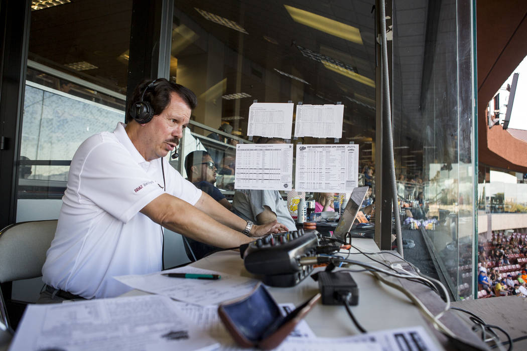 Russ Langer, the 51s radio broadcaster with over 30 years of experience, in the press box before the Las Vegas 51s game at Cashman Field on Friday, June 16, 2017.  Patrick Connolly Las Vegas Revie ...