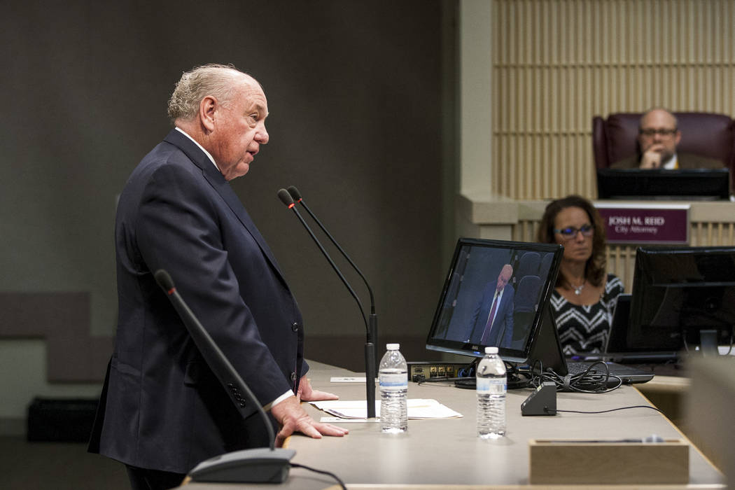 Ward II candidate Dan Shaw, chairman of the Clark County Planning Commission, fields questions from city council during a special meeting in the Henderson City Council Chambers on Thursday, June 1 ...
