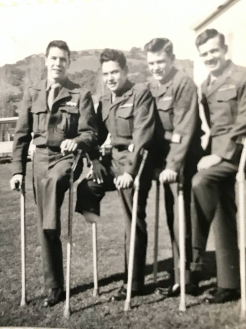 "Al Grandis, second from left, with fellow Marine amputees - ""the Ramblin' Amps"" - at Oak Knoll Naval Hospital, Oakland, Calif., in 1951. (Grandis family photo)"