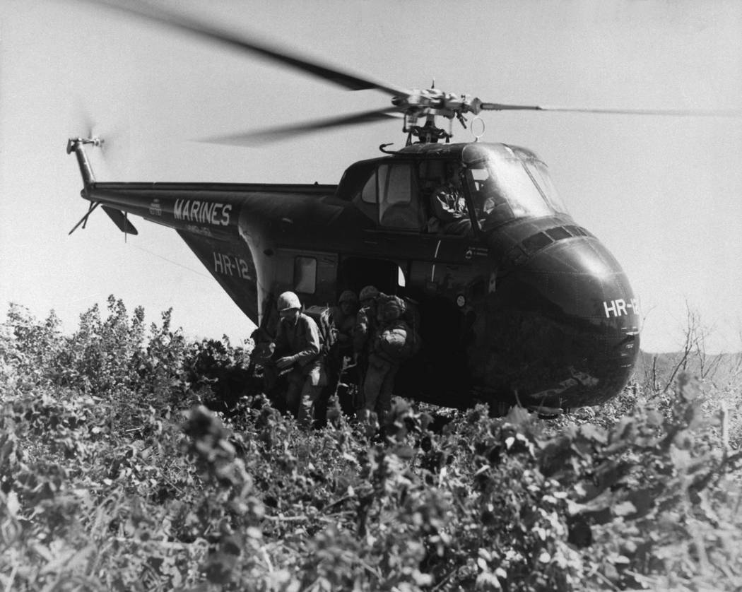 U. S. Marines of the 1st Marine Division Reconnaissance Company make the first helicopter invasion on Hill 812, to relieve the Republic of Korea 8th Division, during the renewed fighting in Korea. ...