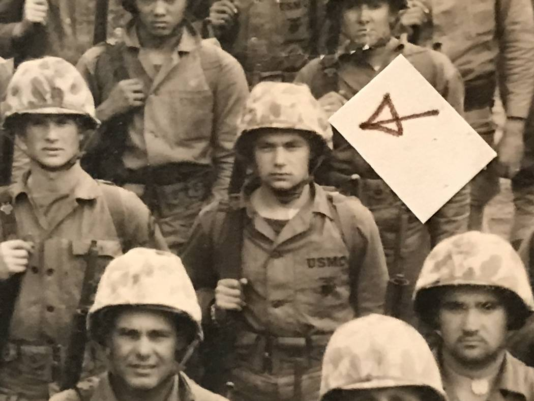 An arrow points to Marine Pvt. Al Grandis in his unit photo at Camp Pendleton, Calif., before he deployed to the Korean Peninsula in 1951. (Marine Corps photo)