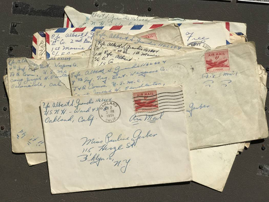 Envelopes for Air Mail letters that Marine Al Grandis sent to his sweetheart, Pauline Gerber, of Brooklyn, N.Y., in 1951. Keith Rogers Las Vegas Review-Journal