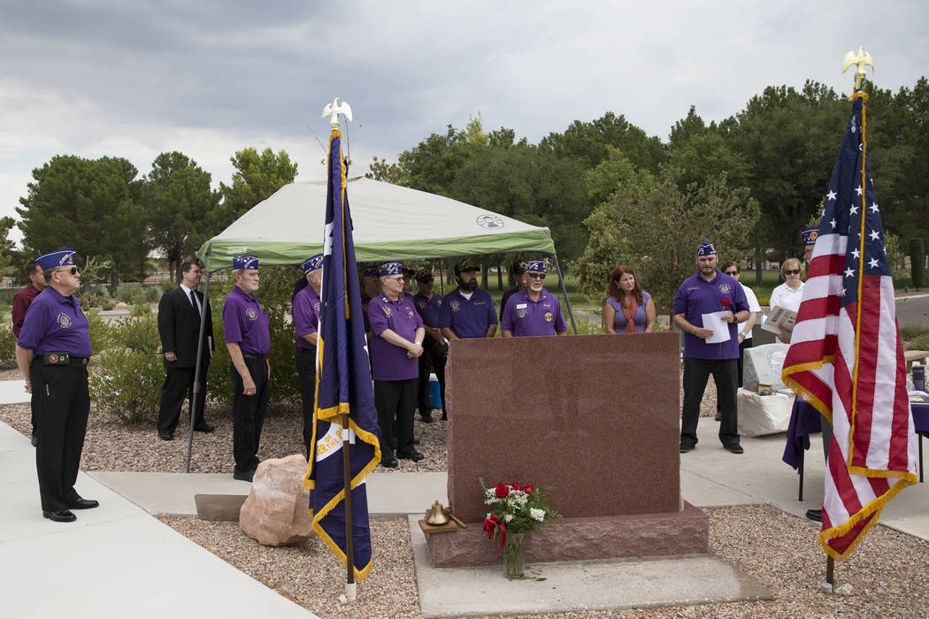 The Military Order of the Purple Heart Chapter 730 during the National Purple Heart Day memorial ceremony at the Southern Nevada Veterans Memorial Cemetery in Boulder City on Saturday, Aug. 5, 201 ...