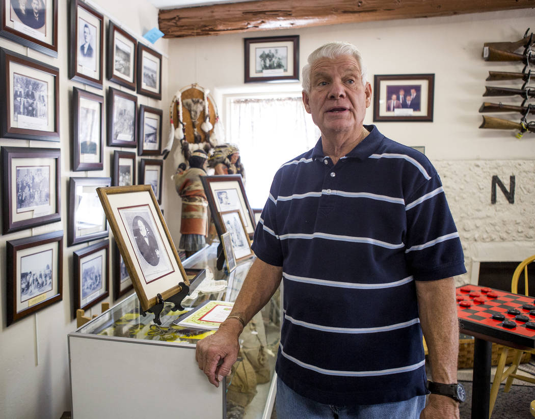 Val Woods, a docent with the Virgin Valley Heritage Museum, gives a tour of the museum in Mesquite on July 11, 2017. Woods has lived in Mesquite all of his life. (Patrick Connolly Las Vegas Review ...