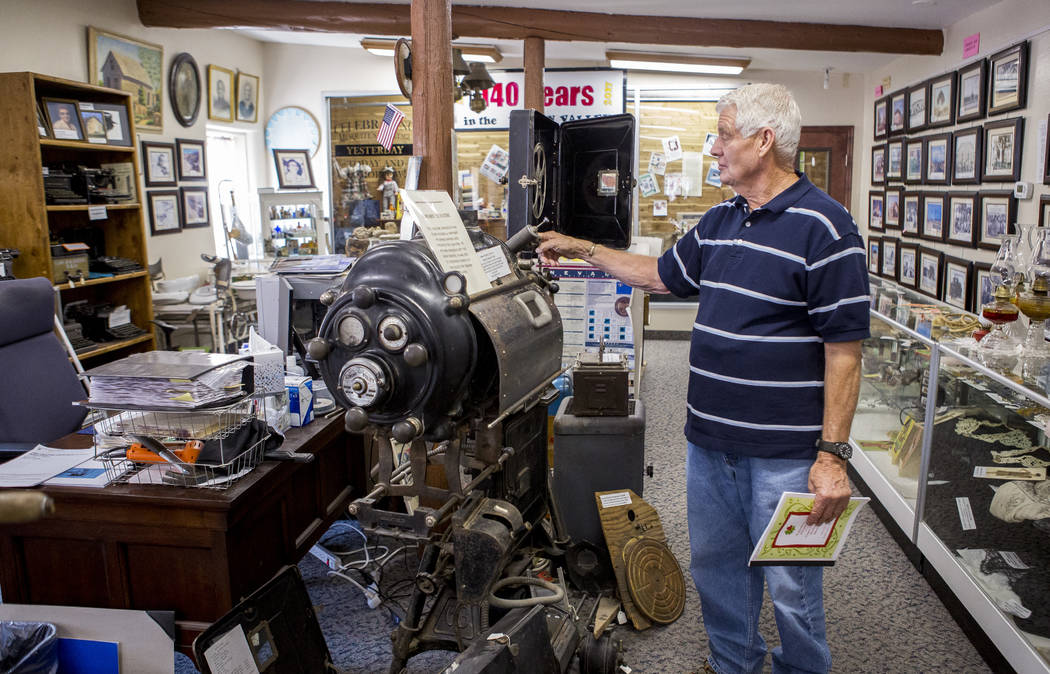 Val Woods, a docent with the Virgin Valley Heritage Museum, gives a tour of the museum in Mesquite on July 11, 2017. Woods has lived in Mesquite all his life. (Patrick Connolly Las Vegas Review-Jo ...