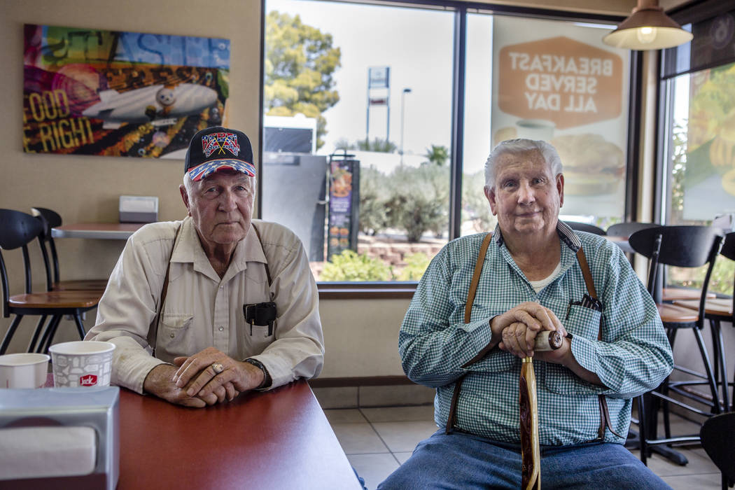 Jimmie Hughes, right, the first mayor of Mesquite, sits in the local Jack in the Box with his friend, Tuffy Ruth, in Mesquite on July 11, 2017. Hughes, Ruth and several other men gather for lunch  ...