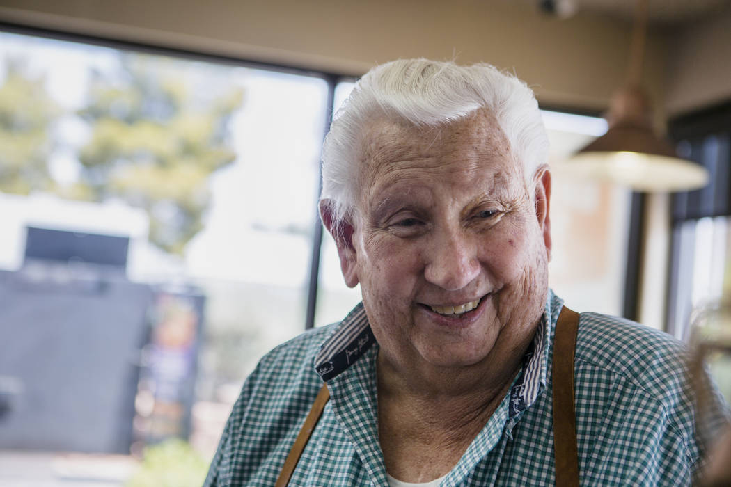 Jimmie Hughes smiles after eating lunch in the local Jack in the Box in Mesquite on July 11, 2017. Hughes and several other men gather for lunch almost daily. (Patrick Connolly Las Vegas Review-Jo ...
