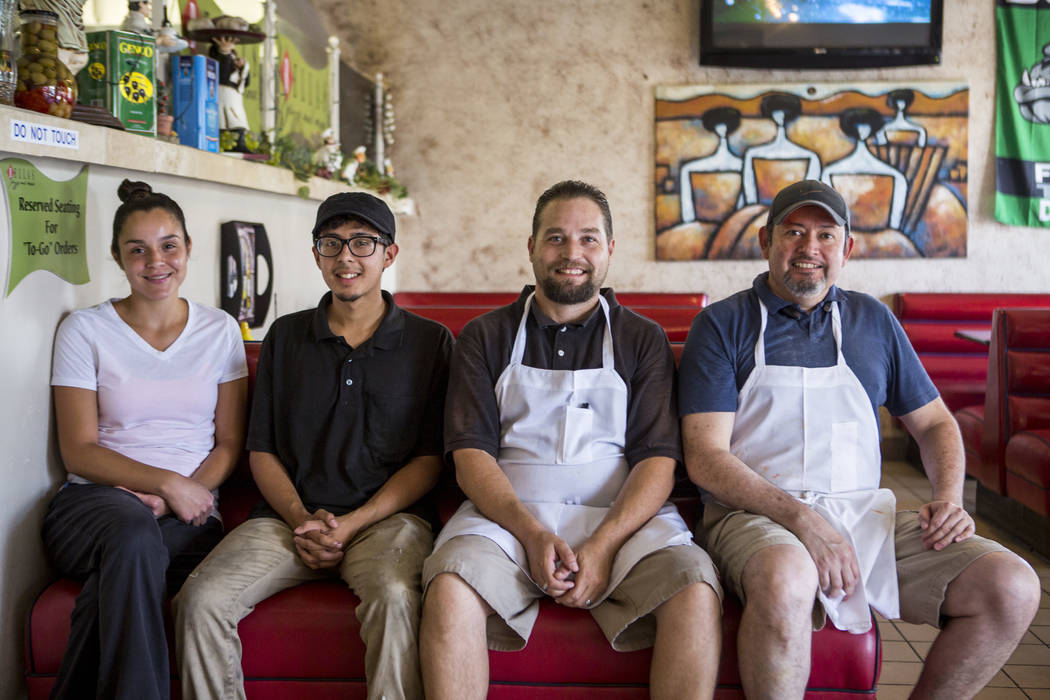 Bella's Pizza employees, from left, Yvette Arrendondo, Fabian Vallejo, David Pitts and owner Pablo Vielman in the Mesquite restaurant on July 11, 2017. (Patrick Connolly Las Vegas Review-Journal)  ...
