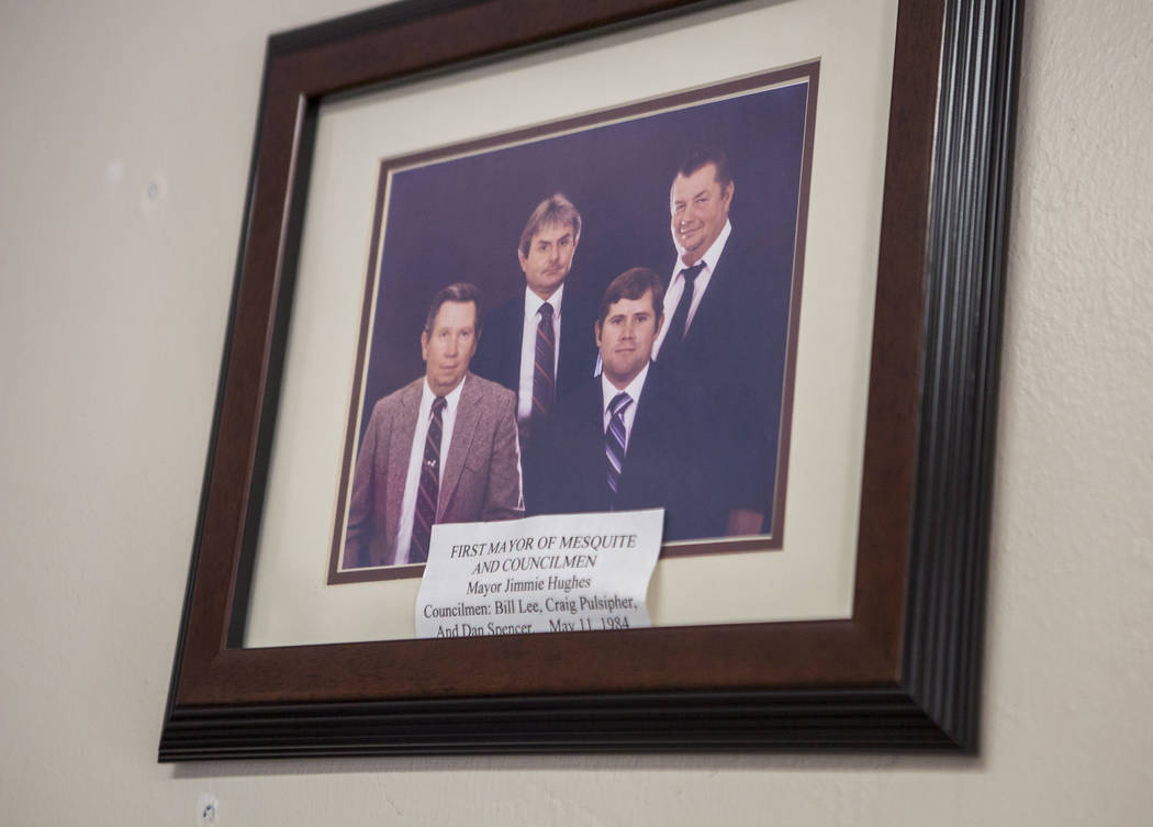 A portrait of Jimmie Hughes, left, and the first three councilmen of Mesquite (dated May 11, 1984) on display in the Virgin Valley Heritage Museum in Mesquite on July 11, 2017. All pictured have d ...