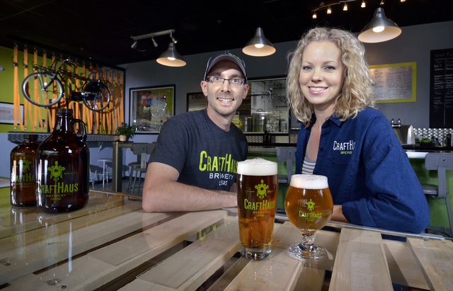 Co-owners Dave and Wyndee Forrest are shown in the taproom at the CraftHaus Brewery at 7350 Eastgate Road in Henderson.. (Bill Hughes/Las Vegas Review-Journal)