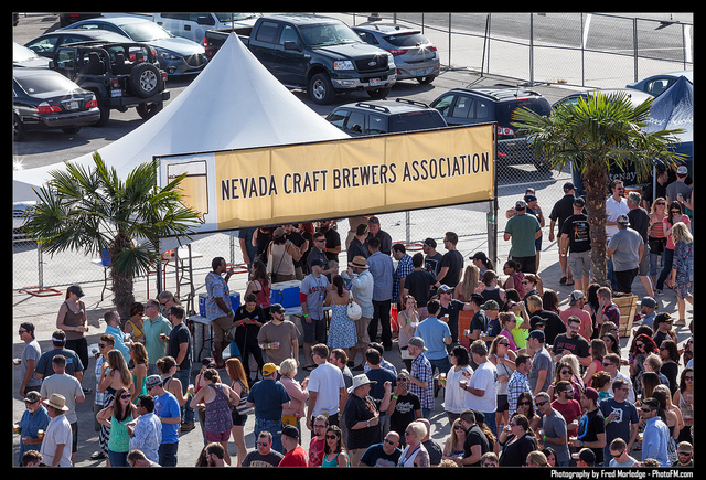 Motley Brews' Great Vegas Festival of Beer is held every year in April at World Market Center Pavilion. Pictured are festival-goers lining up for brews served by Nevada Craft Beer Association. ( ...