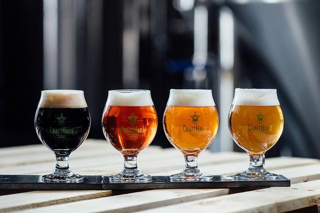 A flight of beers is shown at CraftHaus Brewery in Henderson. (Courtesy)