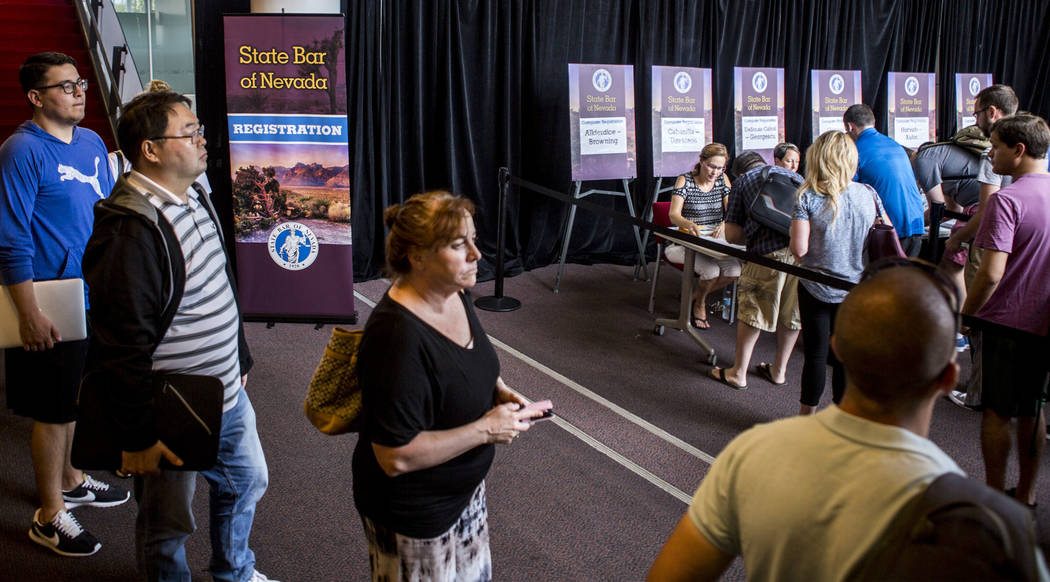 People register for the Nevada bar exam in the Student Union at UNLV on Monday, July 24, 2017.  Patrick Connolly Las Vegas Review-Journal @PConnPie