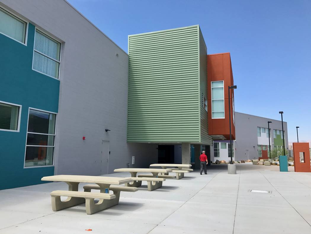 A view of the second half of Beverly S. Mathis Elementary School from the courtyard, which will be used for outdoor events. (Madelyn Reese/View) @MadelynGReese