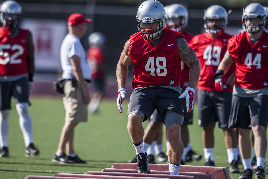 UNLV linebacker Bailey Laolagi practices during the first day of training camp at Rebel Park on Wednesday, August 2, 2017.  Patrick Connolly Las Vegas Review-Journal @PConnPie