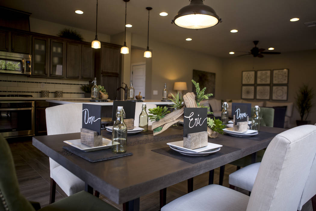 A model kitchen and dining room area in a Century Communities home in southwest Las Vegas on Wednesday, Aug. 9, 2017.  Patrick Connolly Las Vegas Review-Journal @PConnPie