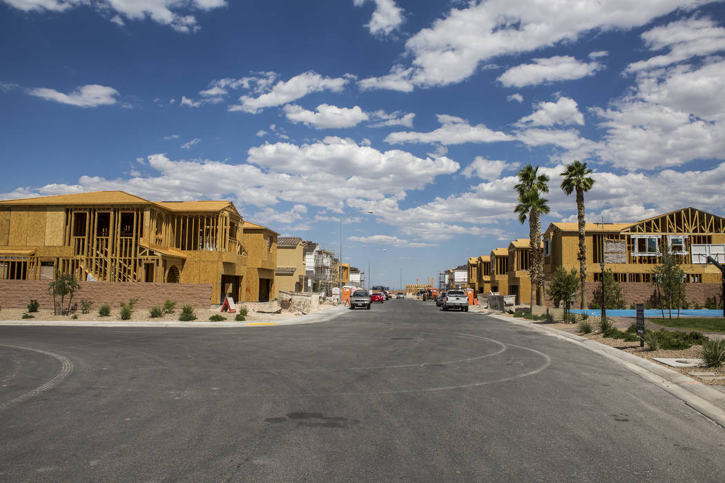 Frames of new Century Communities homes in southwest Las Vegas on Wednesday, Aug. 9, 2017.  Patrick Connolly Las Vegas Review-Journal @PConnPie