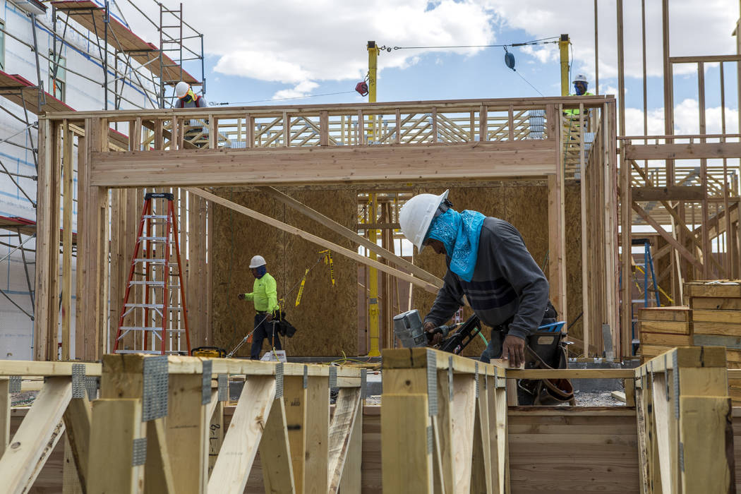 Workers build the frame of a new Century Communities home in southwest Las Vegas on Wednesday, Aug. 9, 2017.  Patrick Connolly Las Vegas Review-Journal @PConnPie