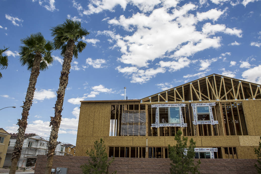 The frame of a new Century Communities home in southwest Las Vegas on Wednesday, Aug. 9, 2017.  Patrick Connolly Las Vegas Review-Journal @PConnPie