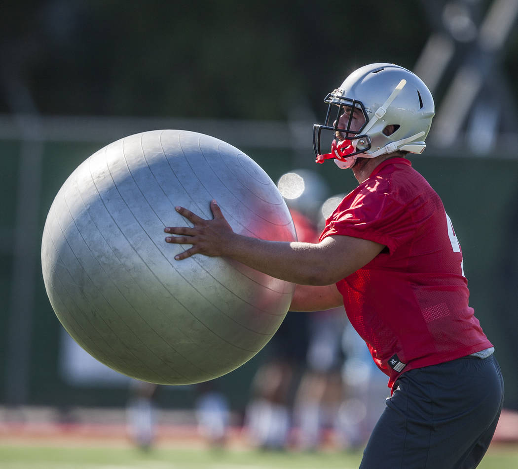 UNLV linebacker Aaron Borg practices during the first day of training camp at Rebel Park on Wednesday, August 2, 2017.  Patrick Connolly Las Vegas Review-Journal @PConnPie