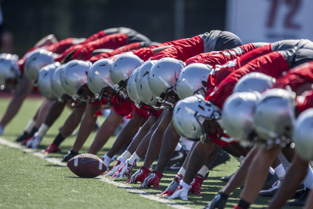 UNLV defensive linemen practice together during the first day of training camp at Rebel Park on Wednesday, August 2, 2017.  Patrick Connolly Las Vegas Review-Journal @PConnPie