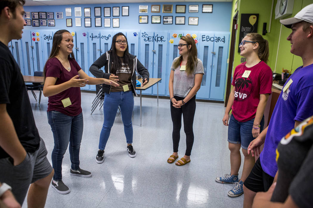 Student council members James Mead, left, Maya Duckworth, Angela Lin, Devon Neary, Daniela Cassidy and Justin Balconi play an icebreaker game in preparation for an upcoming retreat at Bonanza High ...
