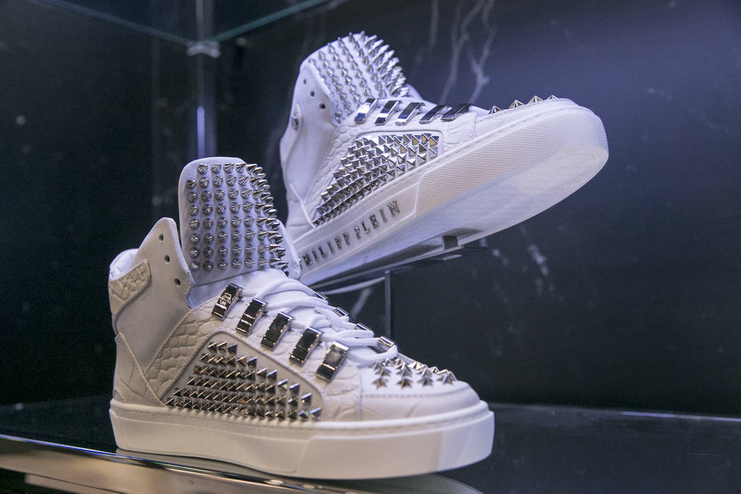 Studded sneakers at the Philipp Plein flagship store in The Shops at Crystals in Las Vegas, Thursday, July 27, 2017. Gabriella Angotti-Jones Las Vegas Review-Journal @gabriellaangojo