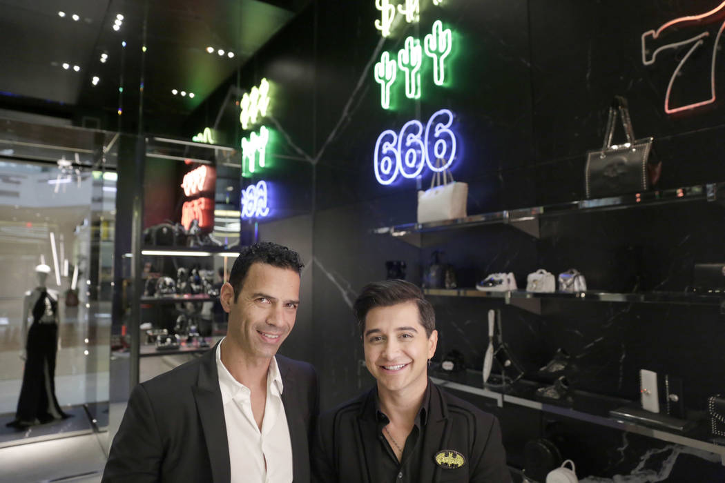 Shaul Eden (left), General Manager, and Jack Bedirian (right), Assistant General Manager, pose for a portrait at the Philipp Plein flagship store  in The Shops at Crystals in Las Vegas, Thursday,  ...