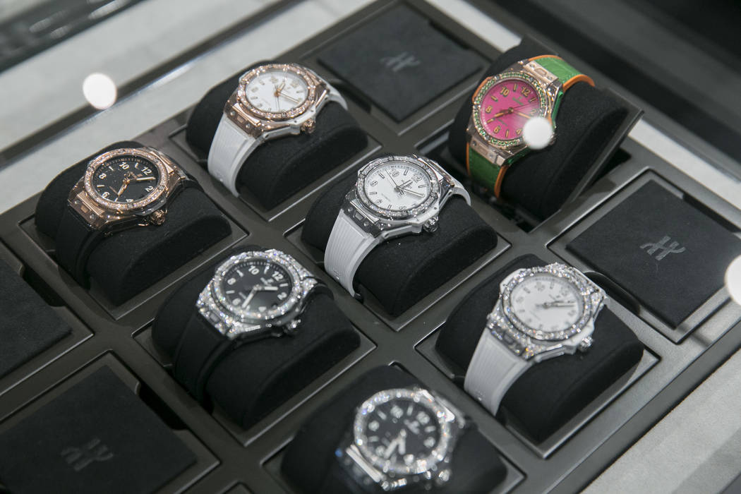 Women's watches at the Hublot store in The Shops at Crystals in Las Vegas, Thursday, July 27, 2017. Gabriella Angotti-Jones Las Vegas Review-Journal @gabriellaangojo
