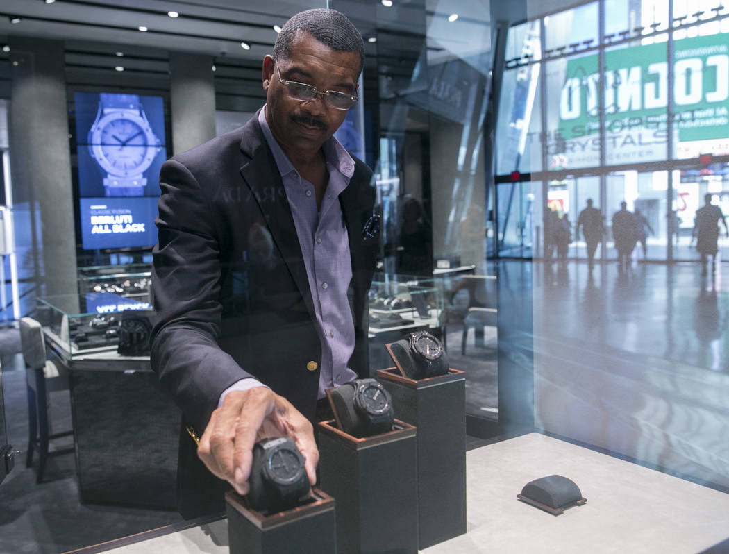 Bill Davis, Sales Consultant, places the Big Bang Las Vegas Limited Edition watch back in its window display at the Hublot store in The Shops at Crystals in Las Vegas, Thursday, July 27, 2017. Gab ...