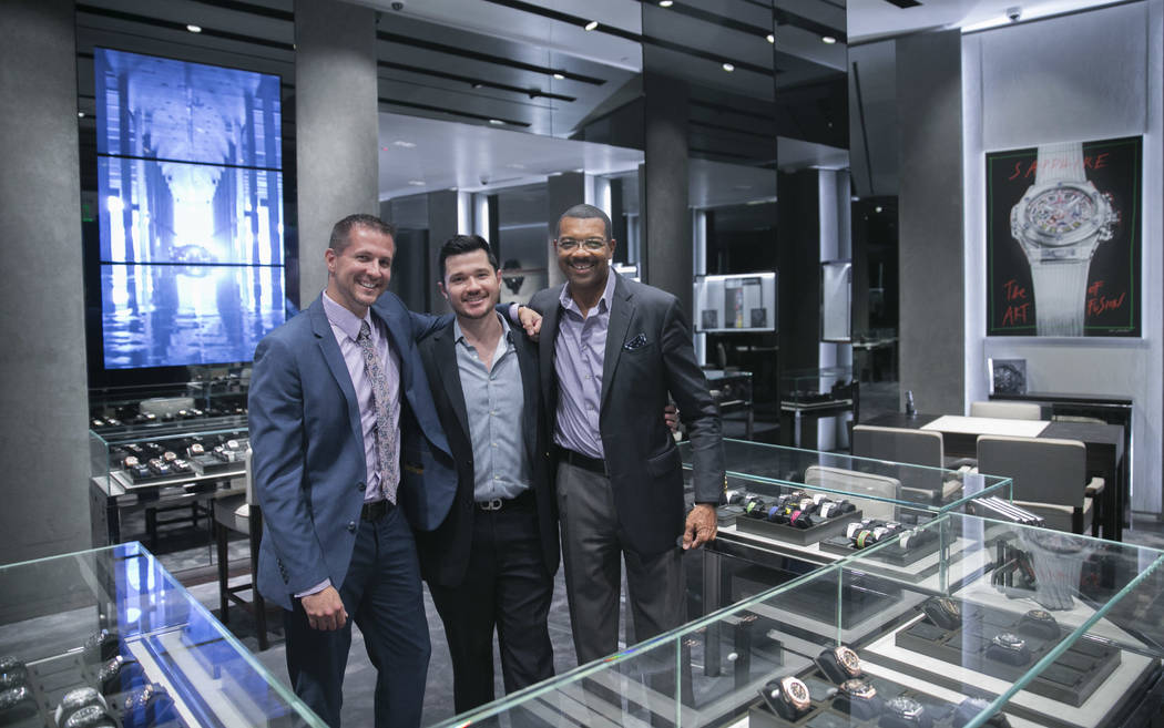 Dan Layton, Assistant Boutique Director, Jose Fryfogle, Sales Consultant, and Bill Davis, Sales Consultant, pose for a portrait at the Hublot store in The Shops at Crystals in Las Vegas, Thursday, ...