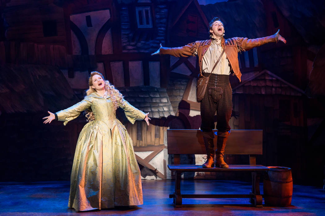 "Puritan Portia (Autumn Hurlbert) finds instant love with poet and playwright Nigel Bottom (Josh Grisetti) in ""Something Rotten!"""