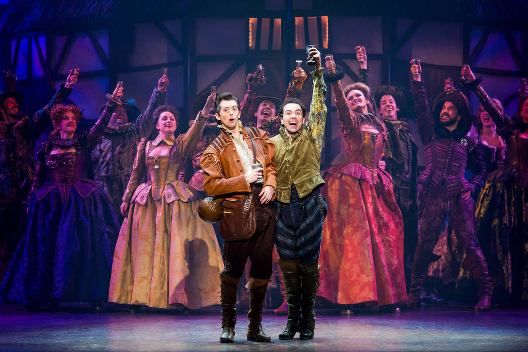 "Brothers Nigel and Nick Bottom (Josh Grisetti, Rob McClure) hatch a plot to stage the world's first musical, ""Omelette,"" in the musical spoof ""Something Rotten!"" (Jeremy Daniel)"