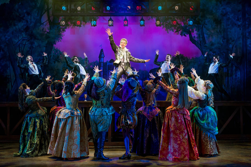 "Rock-star playwright and poet William Shakespeare (Adam Pascal) captivates the crowd in ""Something Rotten!"" (Jeremy Daniel)"